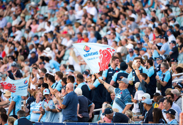 Waratahs fans at round 5 of the Super Rugby between Waratahs and Rebels at Allianz Stadium in Sydney on March 18, 2018.