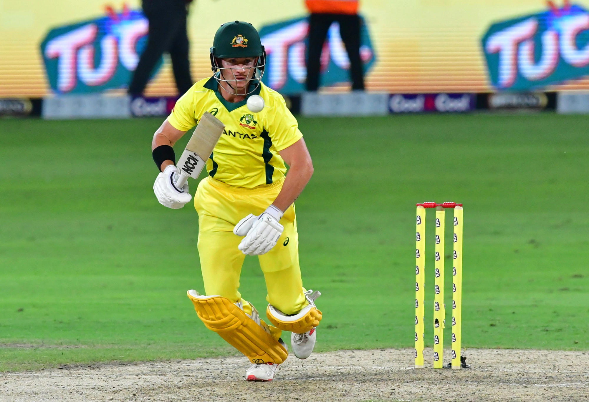 Australian cricketer D'Arcy Short plays a shot
