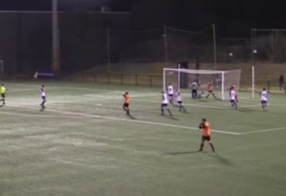 Footballer misses the unmissable from literally a metre out