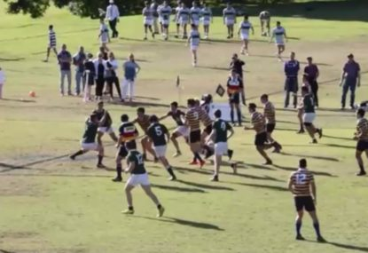 Brutal rugby player sends opponent back in time with monster fend