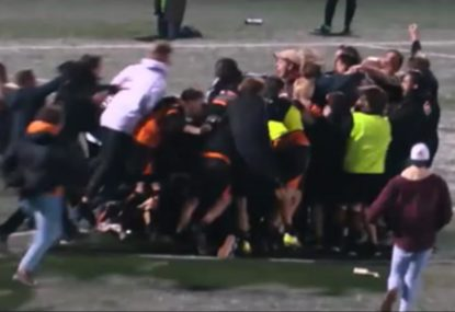 Incredible scenes after brilliant premiership-winning penalty save!