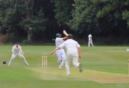Bowler humiliates wild-swinging batsman and destroys the stumps!