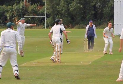 Bowler notches up a hat trick thanks to batsman's wayward shot
