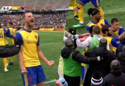 Chaos as 'classless' goal celebration sparks fiery altercation