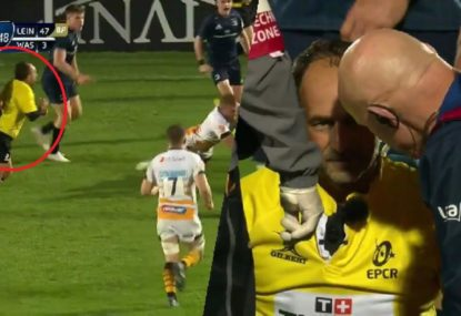 Referee Romain Poite absolutely rocked by collision with Leinster flanker