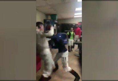 Jockeys get into furious brawl after race
