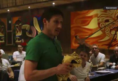 Mark Milligan's emotional jumper presentation for Socceroos' Sudanese debutants