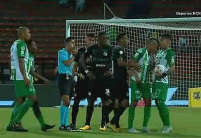 Teammates clash physically over who should take free kick
