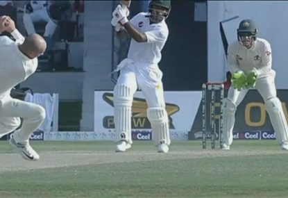 Lyon nearly has his head taken off in impressive caught and bowled
