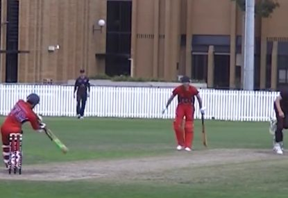 Batsman launches ENORMOUS six down the ground