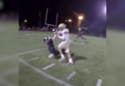 Highschool footballer gets DESTROYED by massive collision