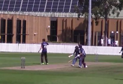 Melbourne Uni batsman gets completely torched by non-striker