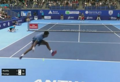 Monfils pulls of epic flying tweener - and wins the point