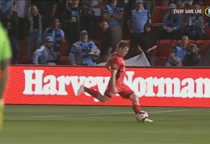 Scott Galloway catches Sydney FC keeper off his line for first goal of season