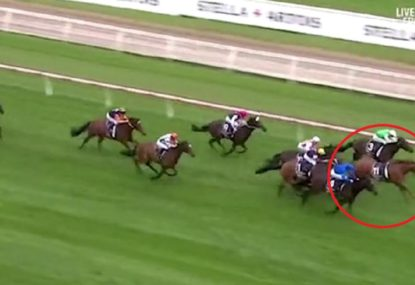 Bizarre scenes at Caulfield as jockey falls off and horse still passes the post first