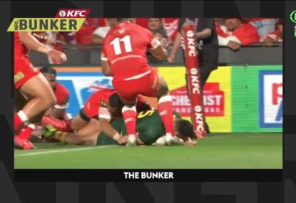 Tongans blow up at harsh call that gave Kangaroos opportunity for 8-point try