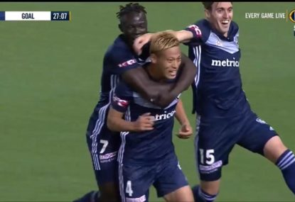 Keisuke Honda takes just 25 minutes to score his first A-League goal