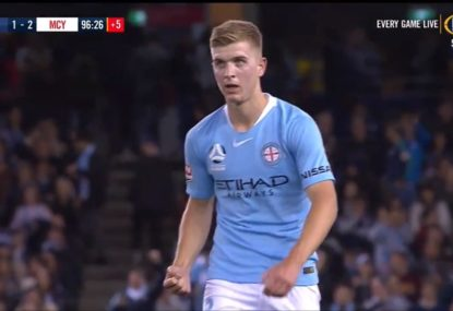Super sub: Riley McGree scores with first touch to hand City controversial Derby win