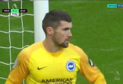 Mat Ryan's 'magnificent save' helps Brighton hold on for win