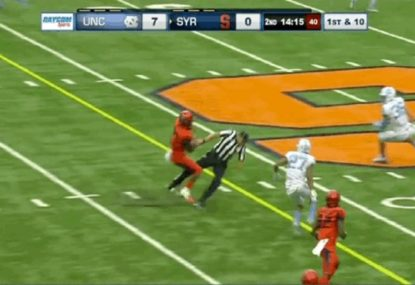 College running back destroys helpless referee during barnstorming run