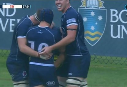 Queensland Country score a cracking try in wet weather rugby