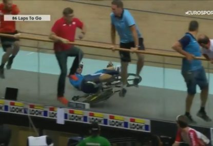 Coaches sent jumping after scary high-speed track cycling crash