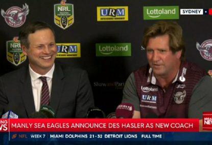 Manly announce Des Hasler's return as Sea Eagles coach