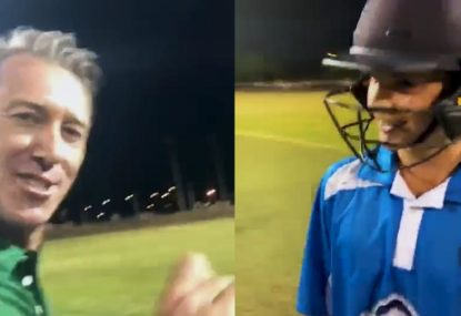 Glenn McGrath bowls 'embarrassing' beamer at junior in charity match