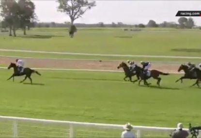 Jockey celebrates victory... one lap too early