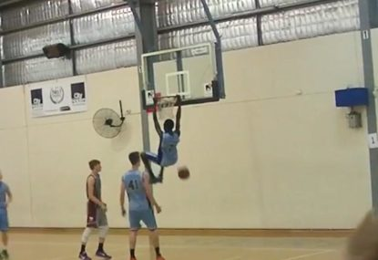 Insanely talented baller left hanging after nailing awesome alley-oop!