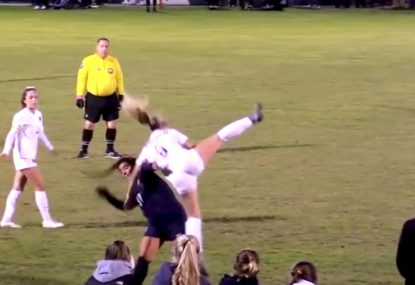 Defender controversially wins free kick after launching herself at opponent