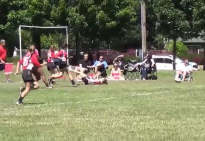 Player comes from the clouds to lay bone-jarring tackle