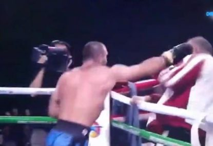 Out of control boxer unleashes on own corner