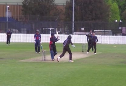 Bizarre hit wicket dismissal comes from wild switch hit attempt