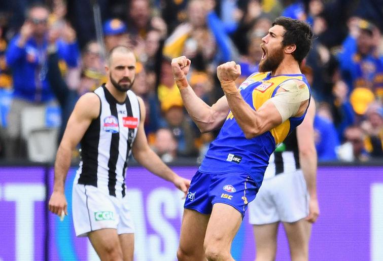 Josh Kennedy celebrates kicking a goal during the 2018 AFL Grand Final