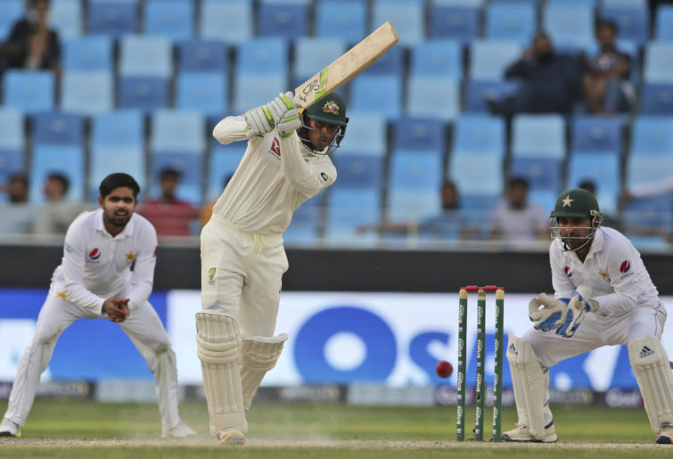 Usman Khawaja plays a shot against Pakistan