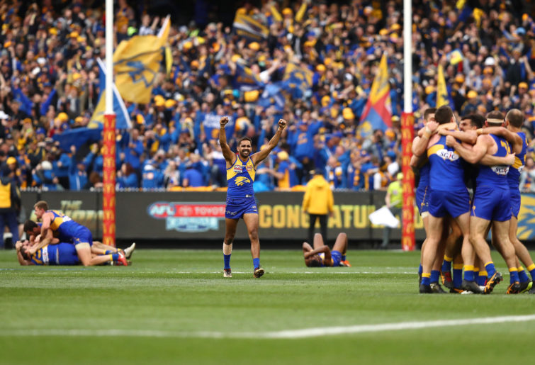 Lewis Jetta of the Eagles celebrates victory on the siren during the 2018 AFL Grand Final