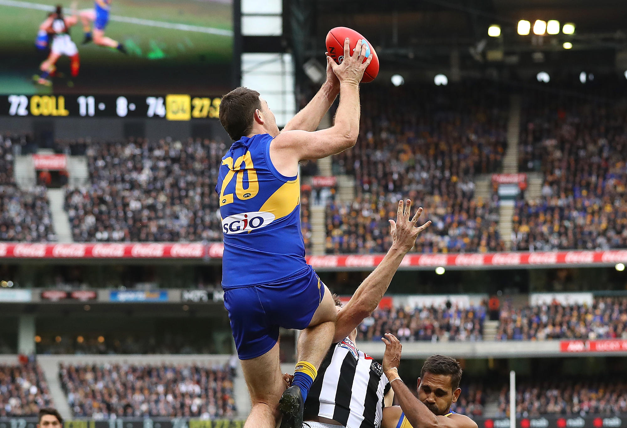 Jeremy McGovern of the Eagles marks during the 2018 AFL Grand Final