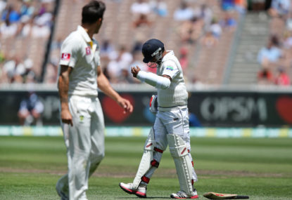 Dhammika Prasad of Sri Lanka sustains a finger injury off the bowling of Mitchell Johnson