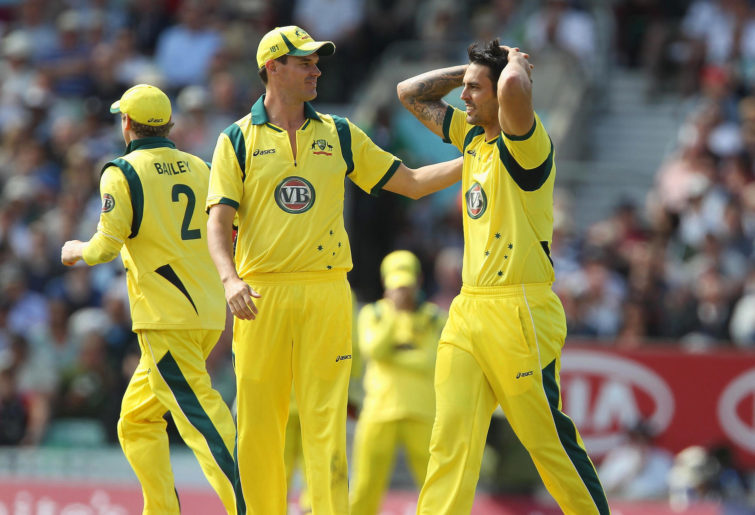 Australia's Mitchell Johnson of Australia reacts after missing a run out