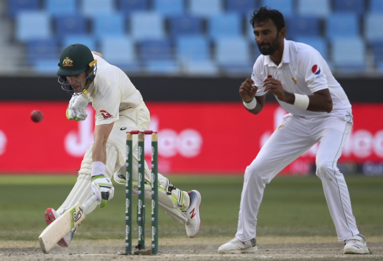Australia's Tim Pane makes a run to save the wicket against Pakistan