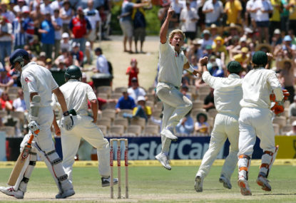 Shane Warne jumps in celebration