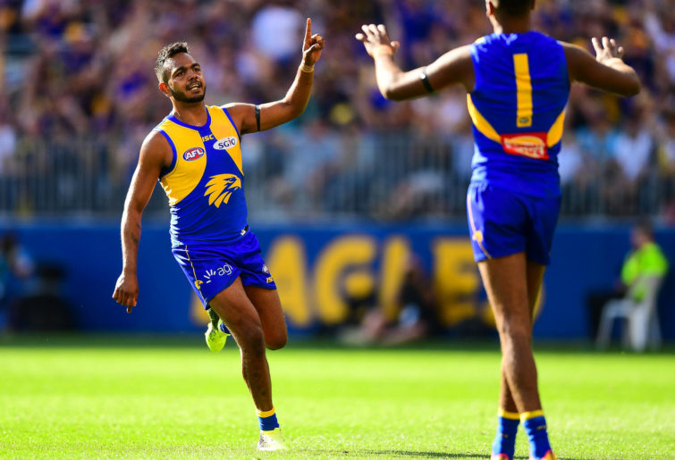 Willie Rioli of the Eagles celebrates a goal