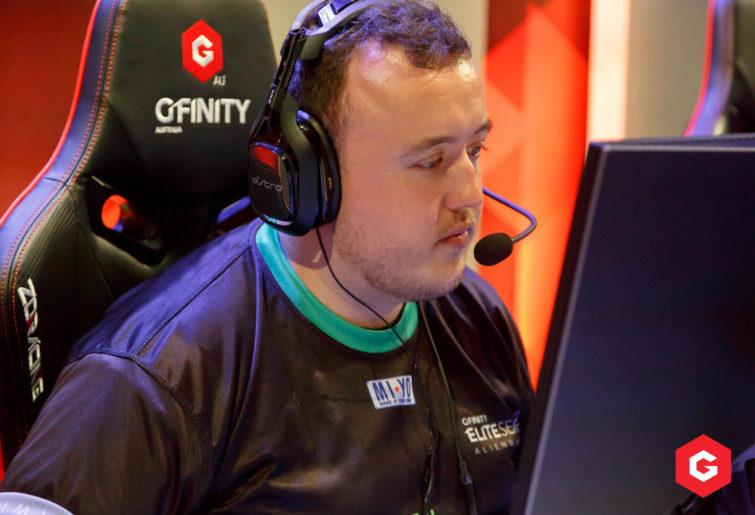Perth Ground Zero player BURNRUOk (Callum Henderson) on stage during the second season of the Gfinity Elite Series.