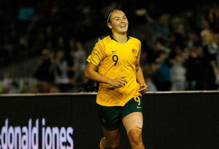 Caitlin Foord of the Matildas celebrates after scoring a goal