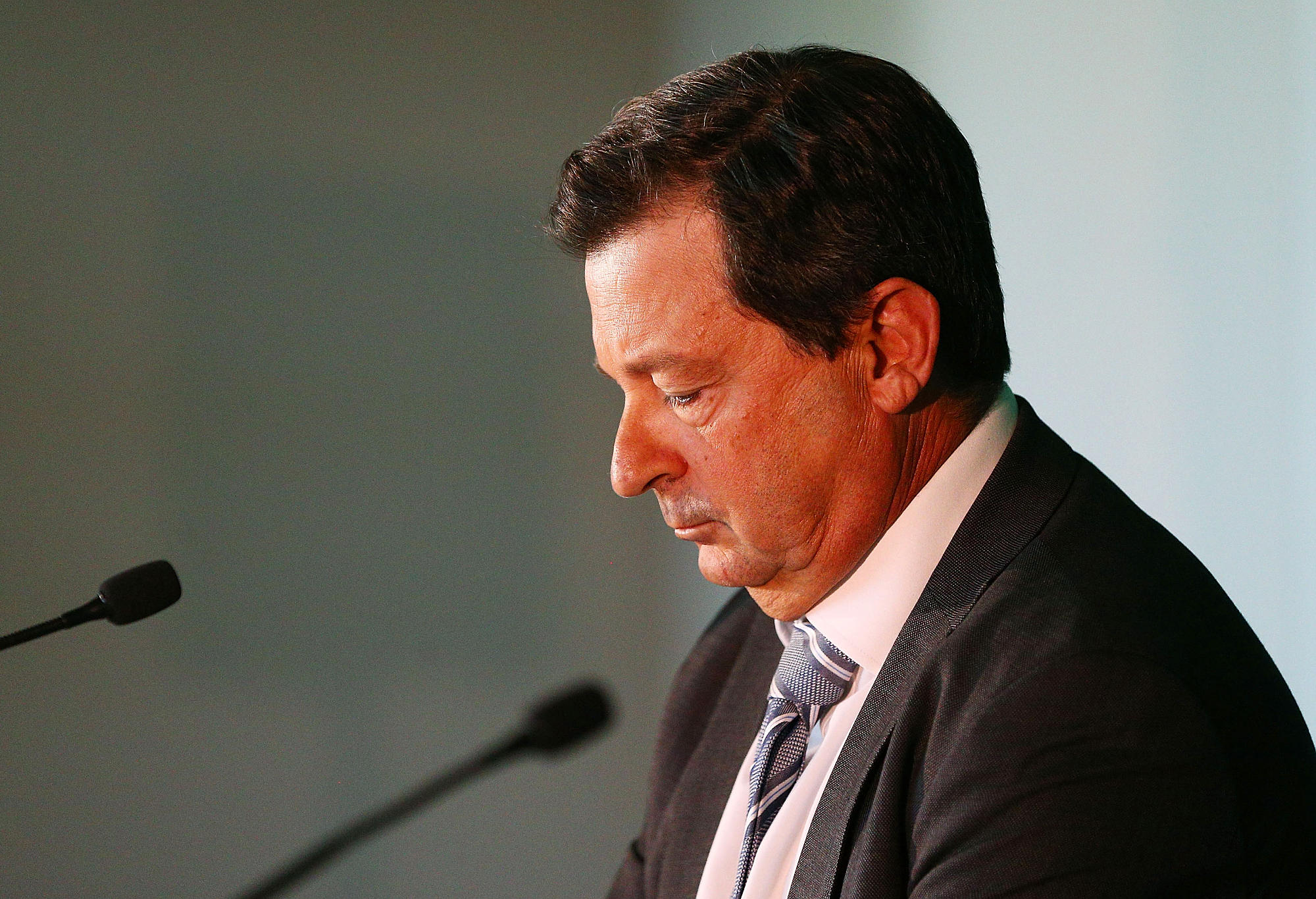 David Peever speaks at a Cricket Australia press conference.