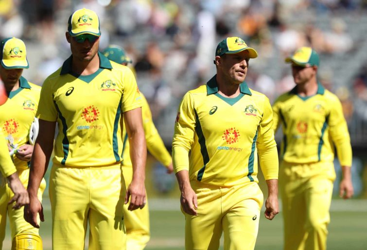 Aaron Finch and the disappointed Aussies