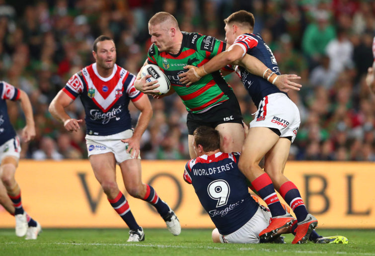 George Burgess of the Rabbitohs is tackled during the NRL Preliminary Final match between the Sydney Roosters and the South Sydney Rabbitohs at Allianz Stadium on September 22, 2018 in Sydney, Australia.