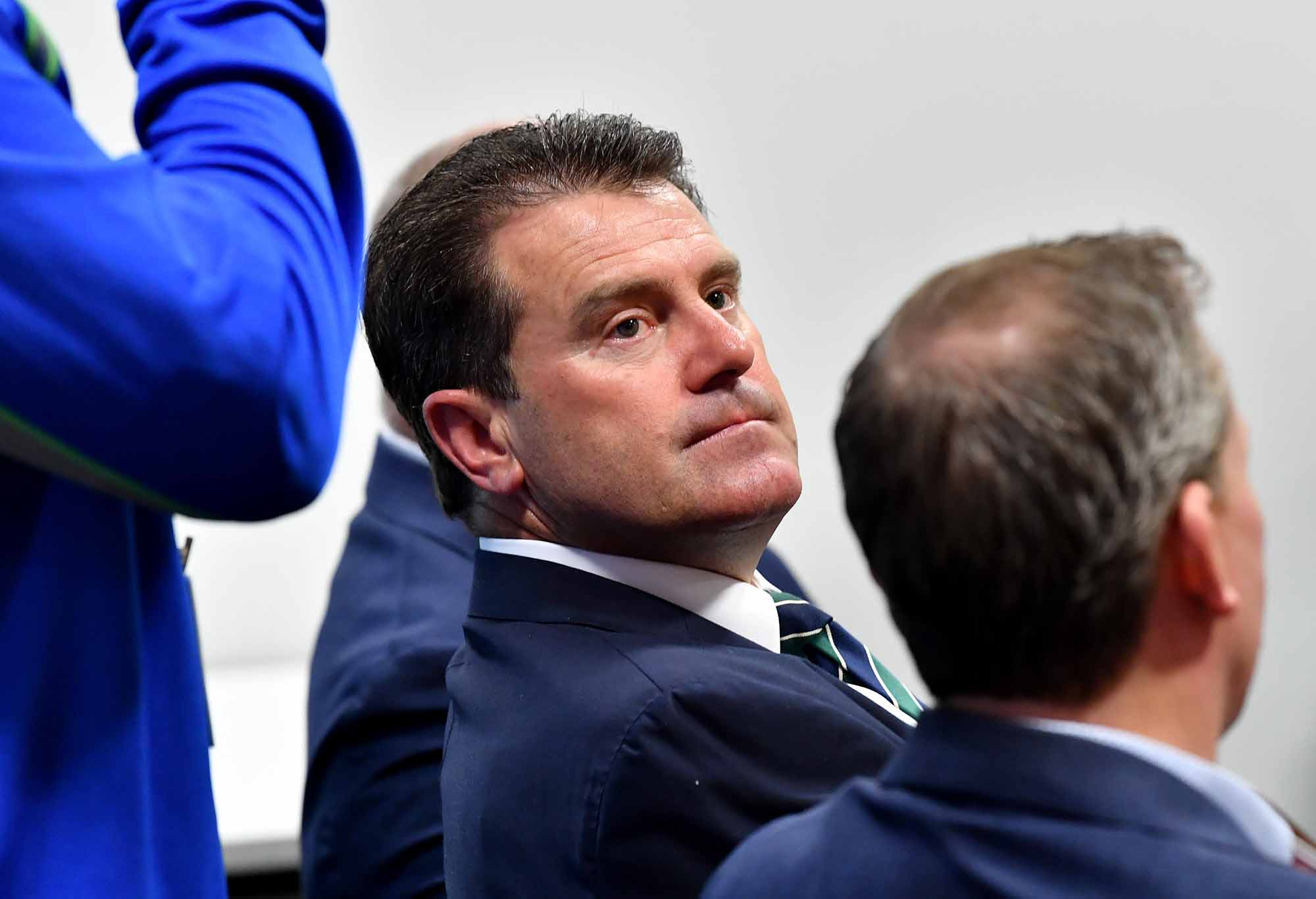 Mark Taylor looks up at a meeting