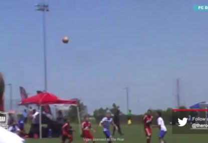 Youngster unleashes mammoth free kick from inside centre circle